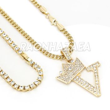 Iced Out Crown V Initial Pendant Necklace Set