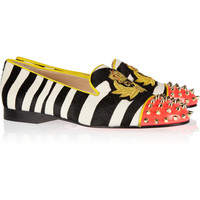 Christian Louboutin|Intern studded calf hair and patent-leather slippers|NET-A-PORTER.COM