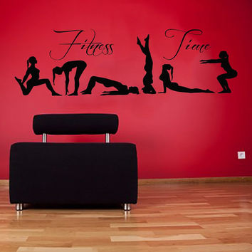 Wall Decals Vinyl Decal Sticker Sport People Wording Fitness Time Girls Yoga Pilates Art Home Interior Design Living Room Gym Decor KT64