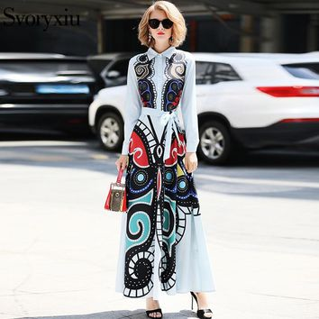Svoryxiu Elegant Runway Maxi Long Dress Women Long Sleeve Abstract Butterfly Print Slim Robe Female Party Floor Length Dress