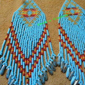 light blue brick stitched Native American inspired shoulder duster earrings