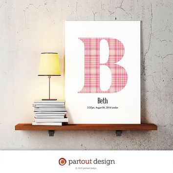 letter B baby nursery art monogram logo personalized gift baby name initial art print DIY printable letter nursery decor initial name art