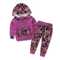 Xirubaby 2017 Autumn Winter Newborn Baby Girls Clothes Floral Hooded Tops+Pants 2PCS Suit Infant Baby Boys Girls Clothing Sets