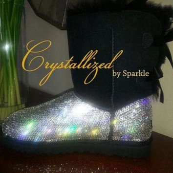 CREY1O Gorgeous Swarovski Crystal Bling Women's Bailey Bow UGG Boots TALL