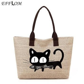 Women Shoulder Bag Canvas Big Capacity Linen Shopping Tote Cute Embroidery Cat Cartoon Cotton Beach Bag Ladies Shopper Handbags