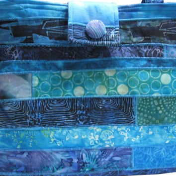 Purse in Blue and Teal Batiks