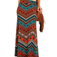 RustBlueWhite Chevron Tribal Maxi Skirt