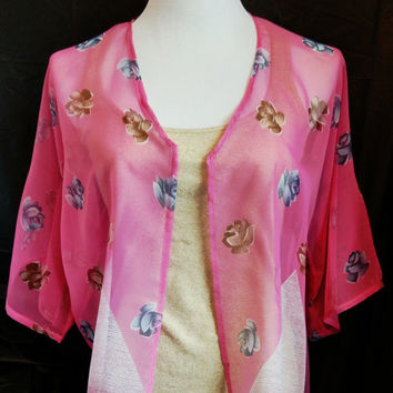 Pink Floral Leafy Print Chiffon Kimono Cardigan, Cropped Kimono Jacket, Free Size Women Girls, Gift for her, Holidays, Beach Cover up.
