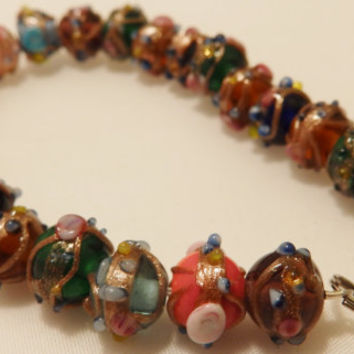 Sterling Silver Vintage  Glass Bead Bracelet