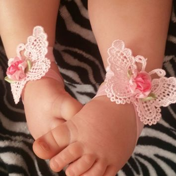 Butterfly and Rose Headband and Barefoot Sandal Sets! 3 Colors!