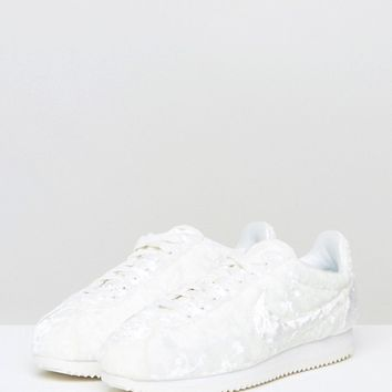 Nike Velvet Cortez Trainers In White at asos.com