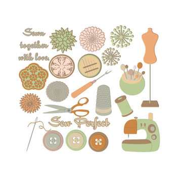 Digital Scrapbooking Elements, Vintage Love Sewing Kit, Seamstress Graphics, Sewing Clipart, Clip Art Mint Sage Green Orange Brown Beige Tan