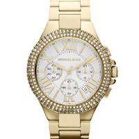 Michael Kors  Mid-Size Golden Stainless Steel Camille Chronograph Glitz Watch