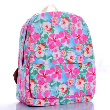 Sweet Floral Printed Canvas Backpack College School Bag Travel Daypack