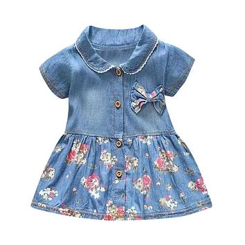 Toddler Baby Girls Floral Print Bowknot Short Sleeve Princess Denim Princess Pageant Party Casual Tutu Dress Girl Dress Outfit