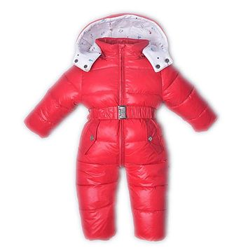 Newborn Overalls Baby Winter Snow Coveralls Boys Silver Duck Down Jumpsuit Fur Romper Baby Outfits Outdoor One Piece Jacket