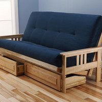 Woodbury Full Size Futon Sofa and Drawer Set, Natural Finish Hardwood Frame And Soft Suede Innerspring Mattress, Navy