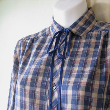 Tan/Blue Plaid '70s Vintage Cotton Blend Blouse - Retro Plaid Western Neck Tie Shirt - Librarian/Teacher Blouse - Bluestocking/Geek Top