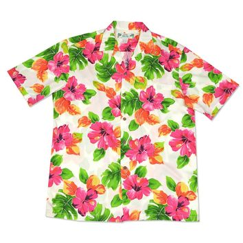 hoopla white hawaiian aloha rayon shirt