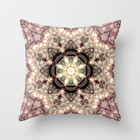 Mushroom Pastel Mandala Throw Pillow by Webgrrl