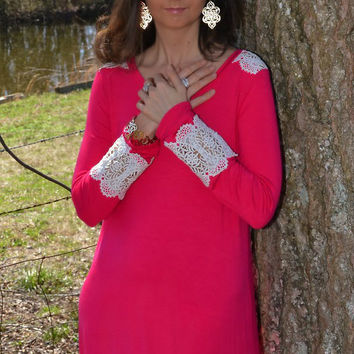 12PM by Mon Ami Fuchsia Tunic with Ivory Trim on Shoulder and Sleeves