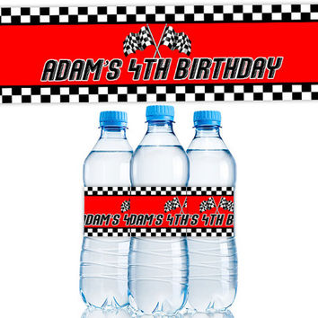 Personalized Race Car Water Bottle Labels - Race Car Birthday Party Favors - Cars Party Favors - Boy Birthday Party - Checkered Flag Red