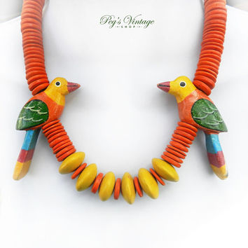 Vintage Colorful Parrot Wood Bead Necklace, Hand Carved / Painted Parrot Bird Wood Bead Necklace