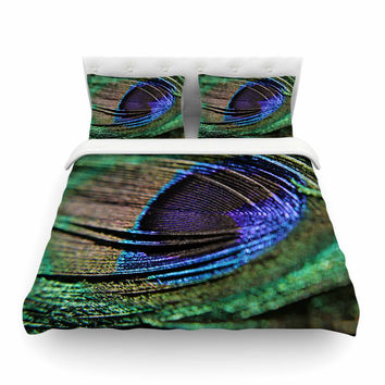 "Angie Turner ""Peacock Feather"" Green Blue Featherweight Duvet Cover"