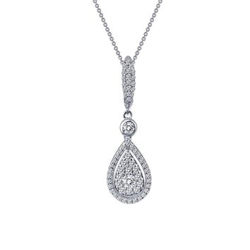 Lafonn Classic Sterling Silver Platinum Plated Lassire Simulated Diamond Necklace (0.92 CTTW)