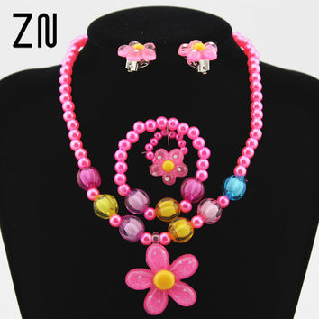 Kids Baby Girl's Imitation Pearls Beaded Sun Flower Necklace Bracelet Rings Earrings Jewelry Set Children Party Gift