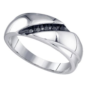Sterling Silver Mens Round Black Color Enhanced Diamond Diagonal Row Band Ring 1/8 Cttw