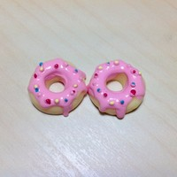 2 pcs Yellow Donuts with Light Pink Frosting and sprinkles Cabochon Flatbacks 20 x 20 mm