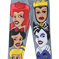Blue Cartoon Disney Avatar Print Denim Pant - Sheinside.com