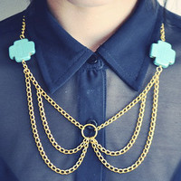 Peter Pan Collar Necklace- Turquoise with Gold Chain
