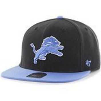 DCCKG8Q NFL 47 Brand Detroit Lions Youth Black Super Shot Two Tone Captain Wool Snapback