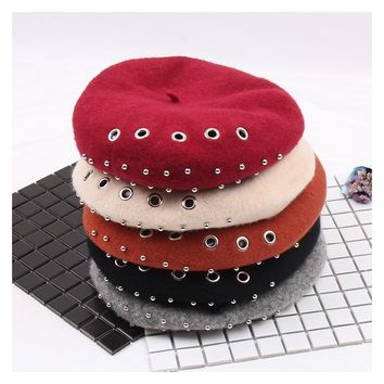 Winter Hats For Women Berets Knitted Wool Beret Beanie Autumn Winter Artist Cap Solid Painter Hats With Rivet Beret Hats