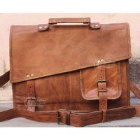 Distressed Leather Laptop Messenger Bag