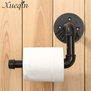 Xueqin Industrial Style Wall Mounted Bathroom Toilet Roll Paper Holder Towel Rack Black Pipe Metal Toilet Paper Roll Holder