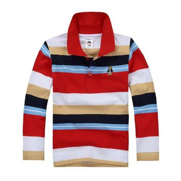Top quality kids boys long sleeve polo shirts for baby toddler big spring autumn cotto