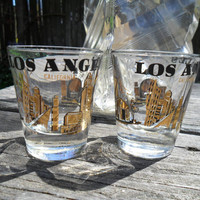Vintage Mid Century Los Angeles Souvenir Shot Glass Set of 2