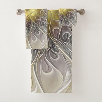 Flourish With Gold Modern Abstract Fractal Flower Bath Towel Set
