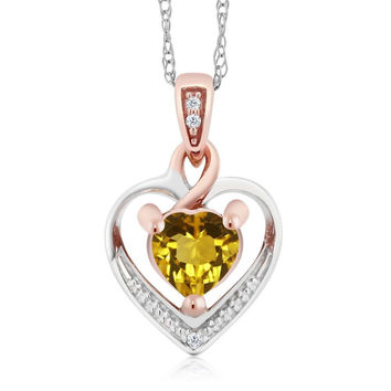 "10K Two-Tone Gold Citrine and Diamond Heart Shape Pendant Necklace w/ 18"" Chain"