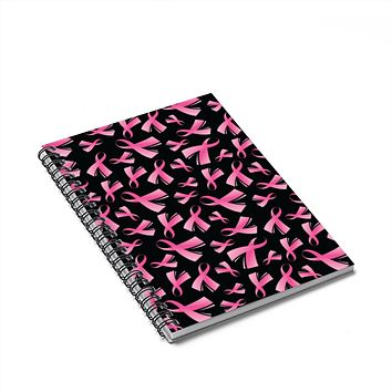 Breast Cancer Awareness Pink Ribbon Spiral Notebook - Ruled Line