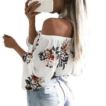 Bohemian  Cute Floral Printed Boho Shirts Loose Beach Women Summer Blouse Casual Off Shoulder Top Flare Slash Neck Blusa GV689
