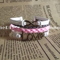 LOVE, Infinity Love Bracelet - Pink leather bracelet, wedding gift, bracelet for girlfriend  birthday gifts  friendship bracelet