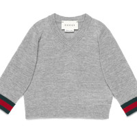 Gucci Baby merino Web V-neck sweater