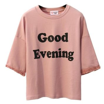 Good Evening Printed Loose Batwing Sleeve Tees