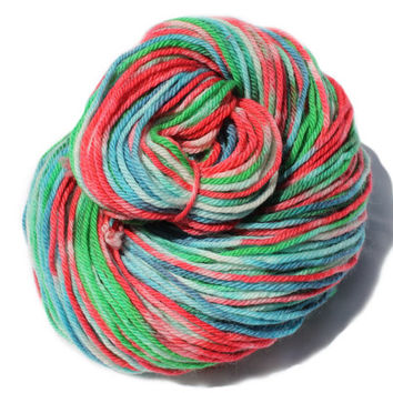 Superwash Merino - Carnival Lolly - Worsted Weight - 4.4oz/125g/215yrds - Blue, Green, Red, White