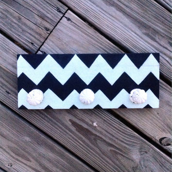 Black and Mint Green Chevron Necklace Scarf Hanger Reclaimed Wood