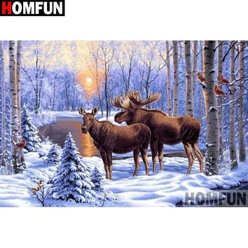 5D Diamond Painting Moose by the Snowy Lake Kit